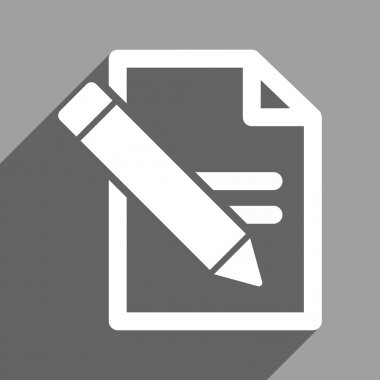 Edit Records Flat Square Icon with Long Shadow