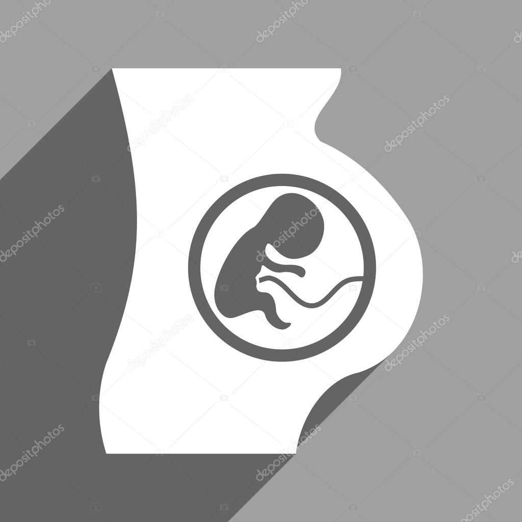 Pregnant Woman Anatomy Flat Square Icon with Long Shadow — Stock ...