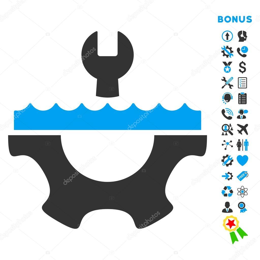 Water Service Flat Vector Icon with Bonus