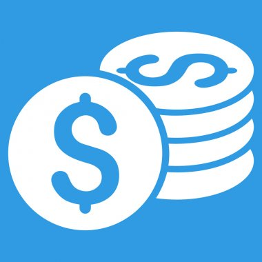 Dollar Coin Stack Flat Vector Icon