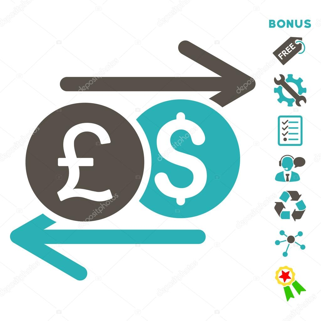 Currency exchange flat vector icon with bonus stock vector currency exchange icon with bonus pictograms vector illustration style is flat iconic bicolor symbols grey and cyan colors white background biocorpaavc Images