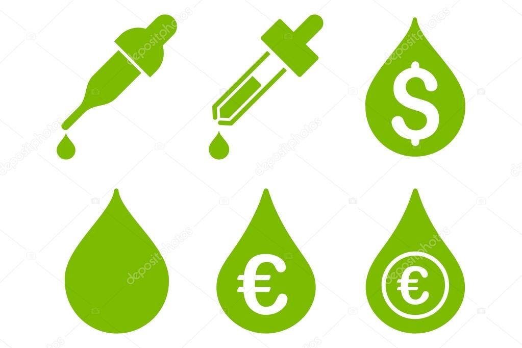 Drops Price Flat Vector Icons
