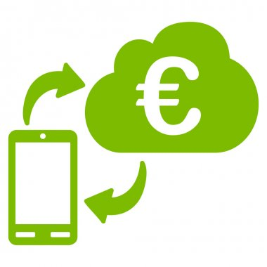 Euro Cloud Banking Flat Vector Icon