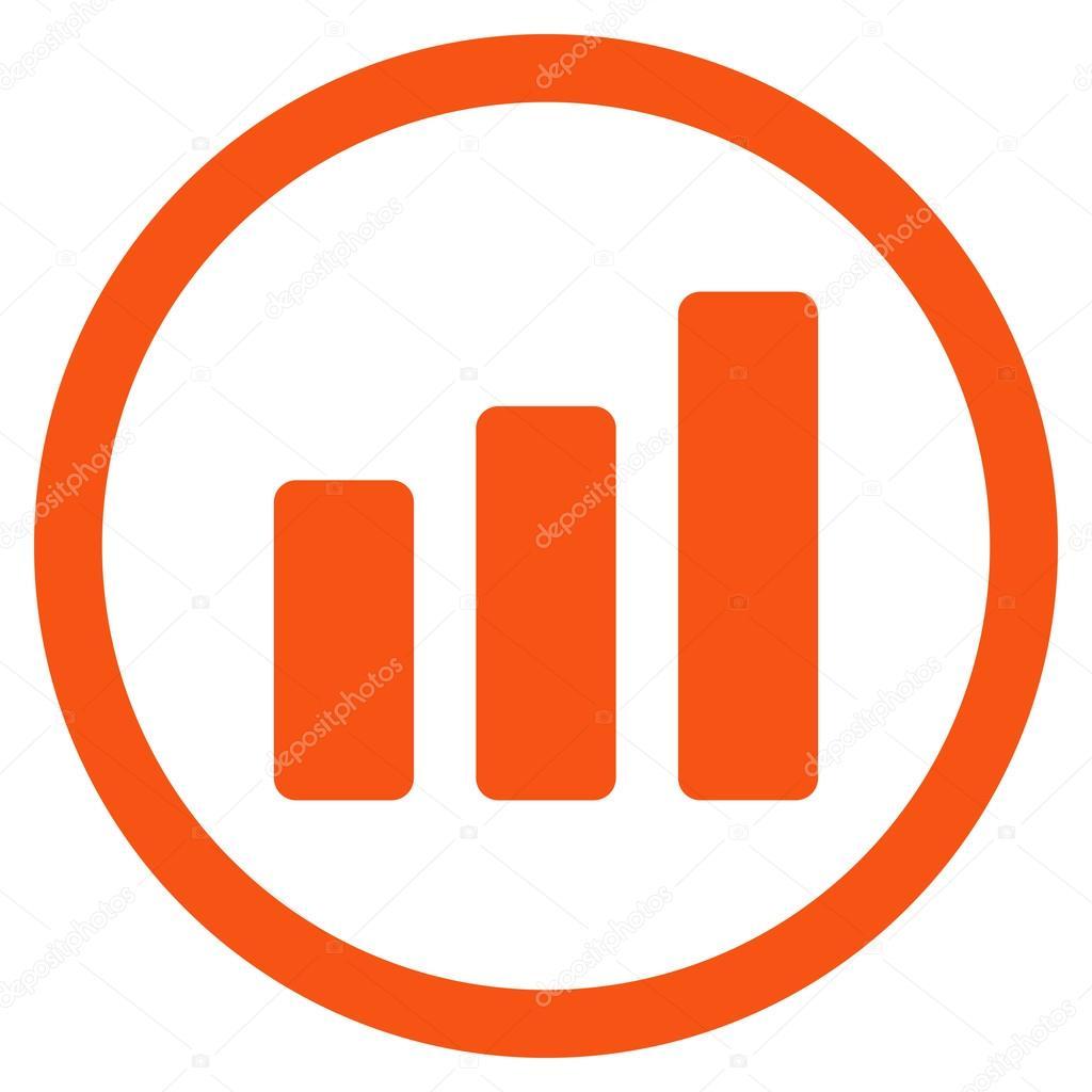 bar chart increase flat rounded vector icon stock vector ahasoft rh depositphotos com