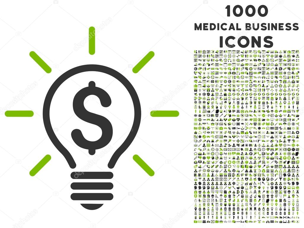 Elektrisches Licht Preis Symbol mit 1000 Medical Business Icons ...