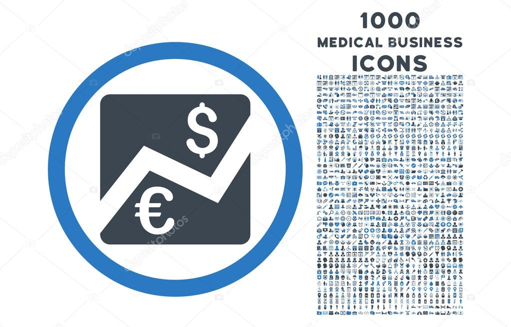 Euro Dollar Chart Rounded Symbol With 1000 Icons Stock Vector