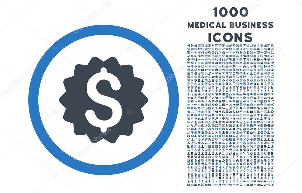 Financial Reward Seal Rounded Symbol With 1000 Icons Stock Vector