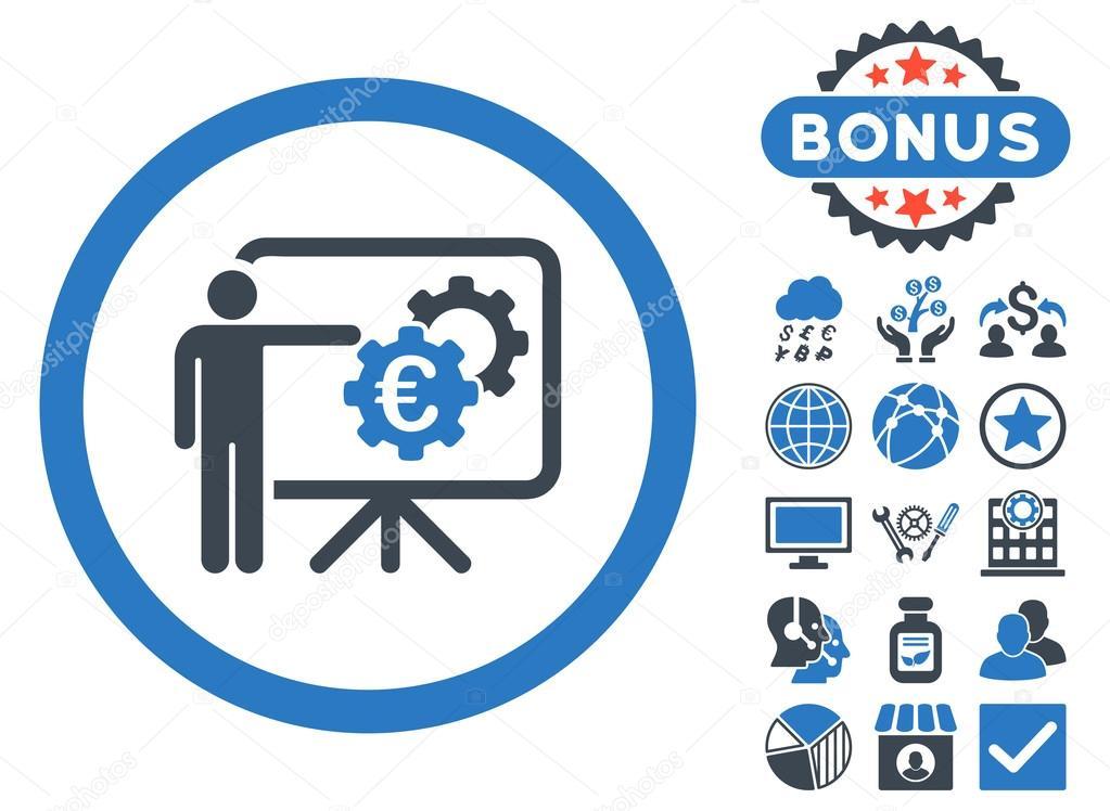 Euro Business Projekt Präsentation flache Vektor Icon mit Bonus ...