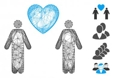 Vector net gay lovers. Geometric linear frame flat net based on gay lovers icon, designed from intersected lines. Some bonus icons are added. icon