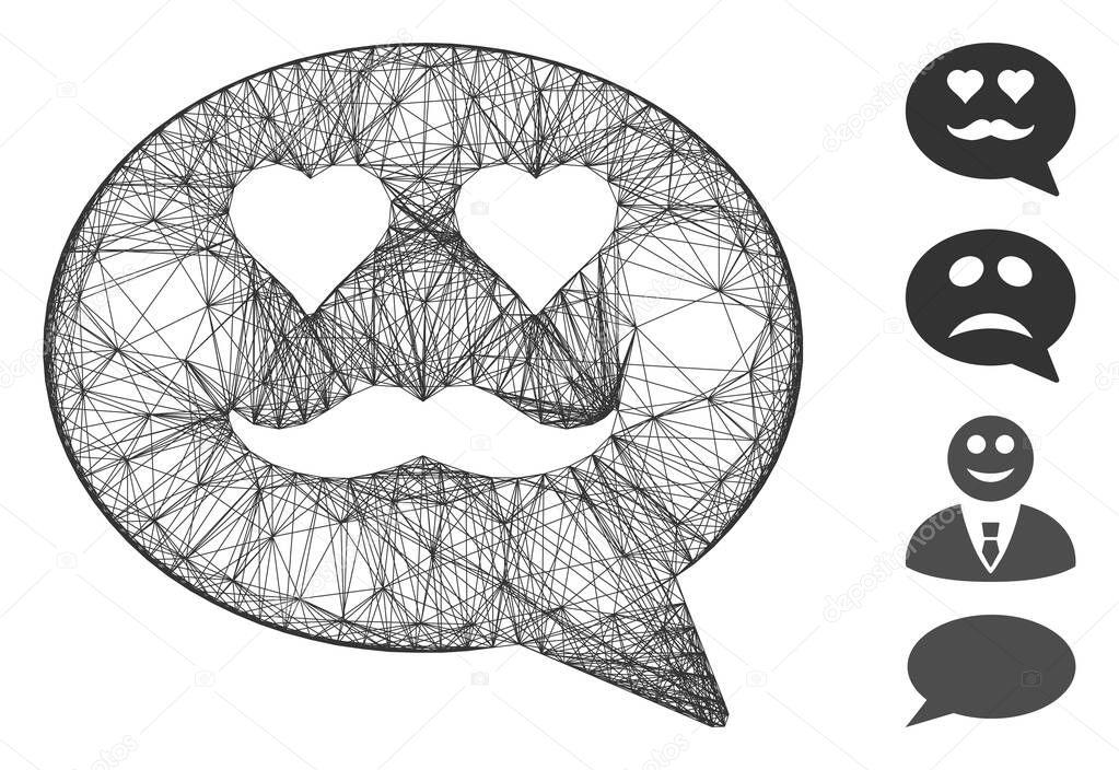 Vector net lover smiley message. Geometric hatched carcass 2D net generated with lover smiley message icon, designed with intersected lines. Some bonus icons are added. icon