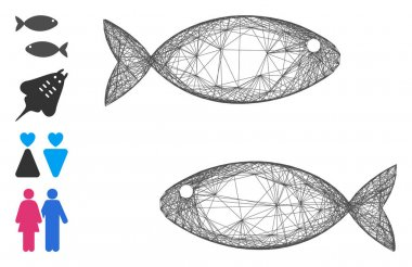 Vector net fish pair. Geometric wire carcass flat net generated with fish pair icon, designed with crossed lines. Some bonus icons are added. icon