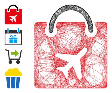 Vector net duty free bag. Geometric wire carcass flat net made from duty free bag icon, designed from crossed lines. Some bonus icons are added. icon