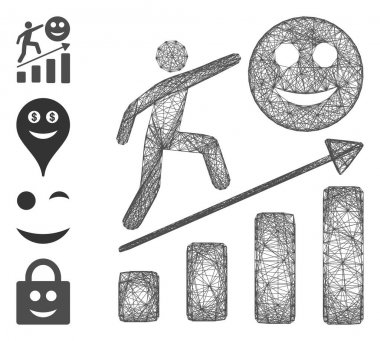 Vector net happy man career growth. Geometric linear frame flat net made from happy man career growth icon, designed from intersected lines. Some bonus icons are added. icon