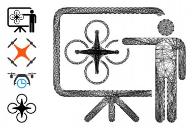Vector wire frame copter presentation. Geometric linear carcass flat network made from copter presentation icon, designed from intersected lines. Some bonus icons are added. icon