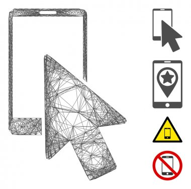 Vector net smartphone arrow pointer. Geometric wire frame 2D net made from smartphone arrow pointer icon, designed from intersected lines. Some bonus icons are added. icon