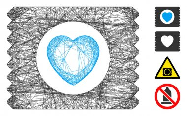 Vector wire frame heart condom pack. Geometric wire frame flat network based on heart condom pack icon, designed with intersected lines. Some bonus icons are added. icon