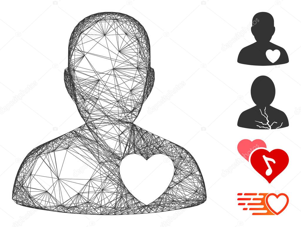 Vector wire frame cardiology patient. Geometric wire frame 2D net made from cardiology patient icon, designed from intersected lines. Some bonus icons are added. icon
