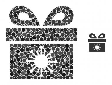Coronavirus surprize box composition of round dots in different sizes and color tinges. Vector round dots are grouped into coronavirus surprize box mosaic. icon