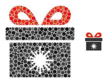 Virus pandorra box collage of dots in variable sizes and color tones. Vector round dots are composed into virus pandorra box mosaic. Virus pandorra box isolated on a white background. icon