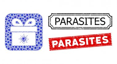 Vector collage virus pandorra box and grunge Parasites stamps. Mosaic virus pandorra box constructed as carved shape from rounded square with blue virus elements. icon