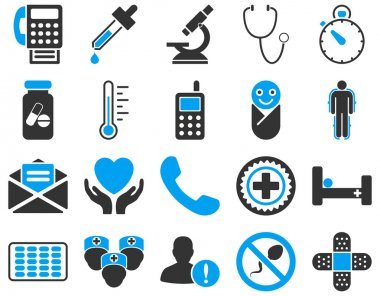 Medical icon set. Style: bicolor icons drawn with blue and gray colors on a white background clip art vector