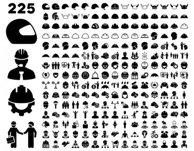 Work Safety and Helmet Icon Set. These flat icons use black color. Vector images are isolated on a white background stock vector