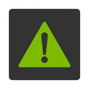 Warning flat eco green and gray colors rounded button