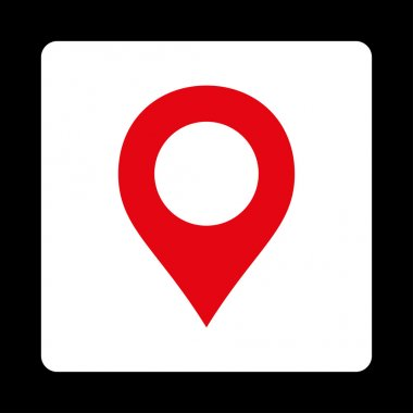 Map Marker flat red and white colors rounded button