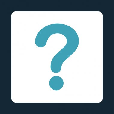 Question flat blue and white colors rounded button