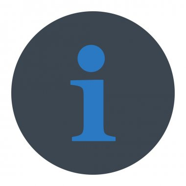 Info flat smooth blue colors round button