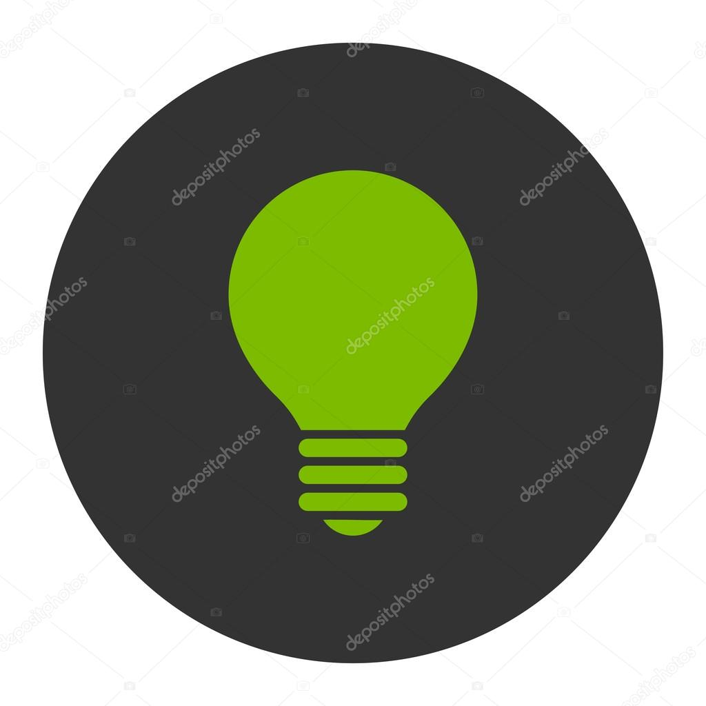 Electric Bulb flat eco green and gray colors round button — Stock ...