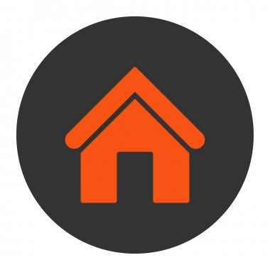 Home flat orange and gray colors round button