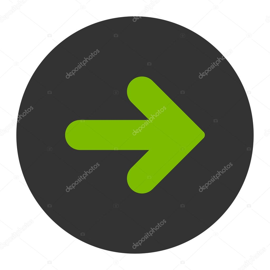 Arrow Right flat eco green and gray colors round button
