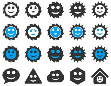 Tools, gears, smiles, emotions icons