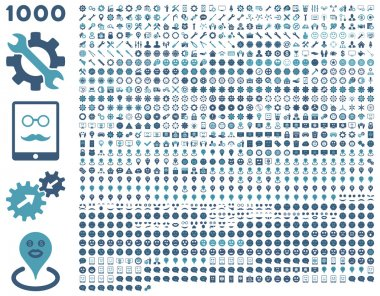 1000 tools, gears, smiles, map markers, mobile icons