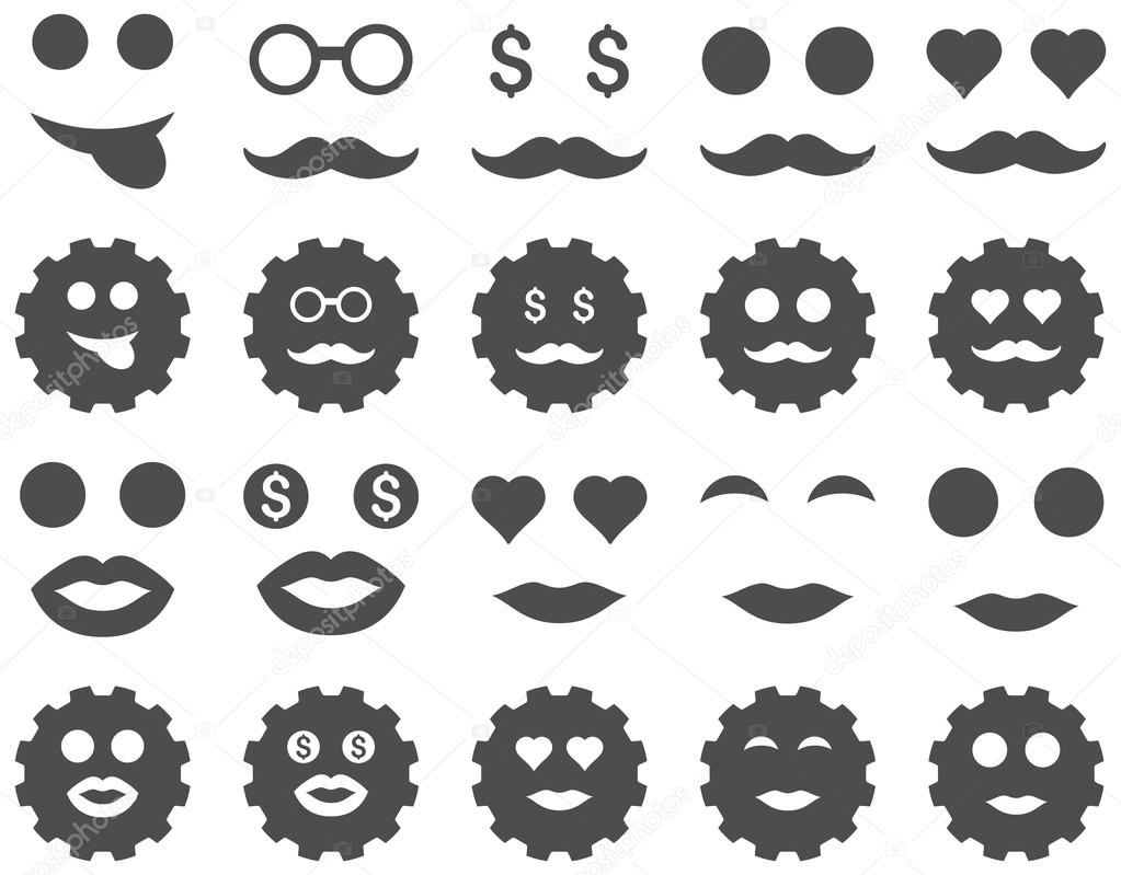 Gear and emotion icons