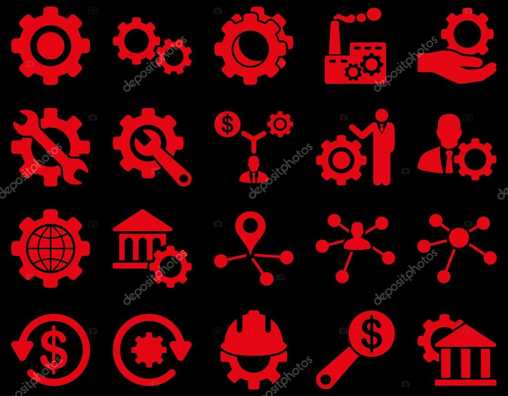 Settings And Tools Icons Vector Set Style Is Flat Images Red Color Isolated On A Black Background Premium Vector In Adobe Illustrator Ai Ai Format Encapsulated Postscript Eps Eps Format