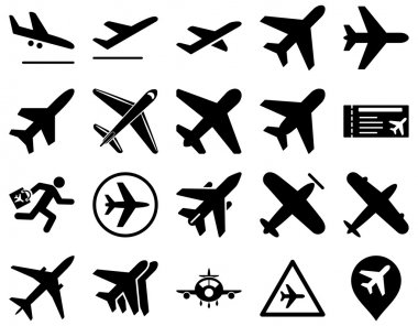 Aviation Icon Set. These flat icons use black color. Vector images are isolated on a white background stock vector