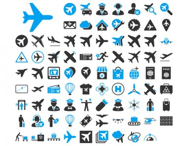 Aviation Icon Set. These flat bicolor icons use blue and gray colors. Vector images are isolated on a white background stock vector