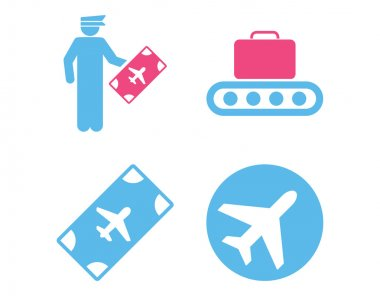 Aviation Icon Set. These flat bicolor icons use pink and blue colors. Vector images are isolated on a white background stock vector