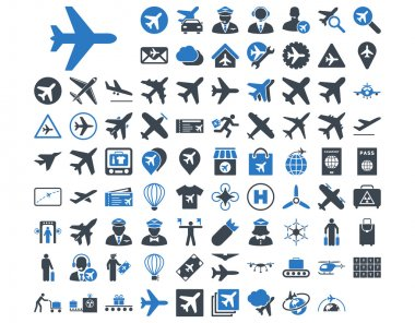 Aviation Icon Set. These flat bicolor icons use smooth blue colors. Vector images are isolated on a white background stock vector