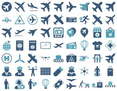 Aviation Icon Set. These flat bicolor icons use cyan and blue colors. Vector images are isolated on a white background stock vector