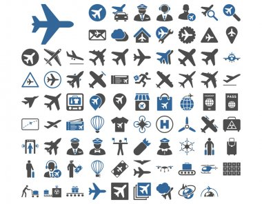Aviation Icon Set. These flat bicolor icons use cobalt and gray colors. Vector images are isolated on a white background stock vector