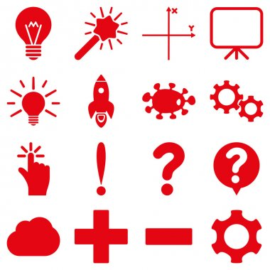 Basic science and knowledge vector icons. These plain symbols use red color and isolated on a white background clip art vector