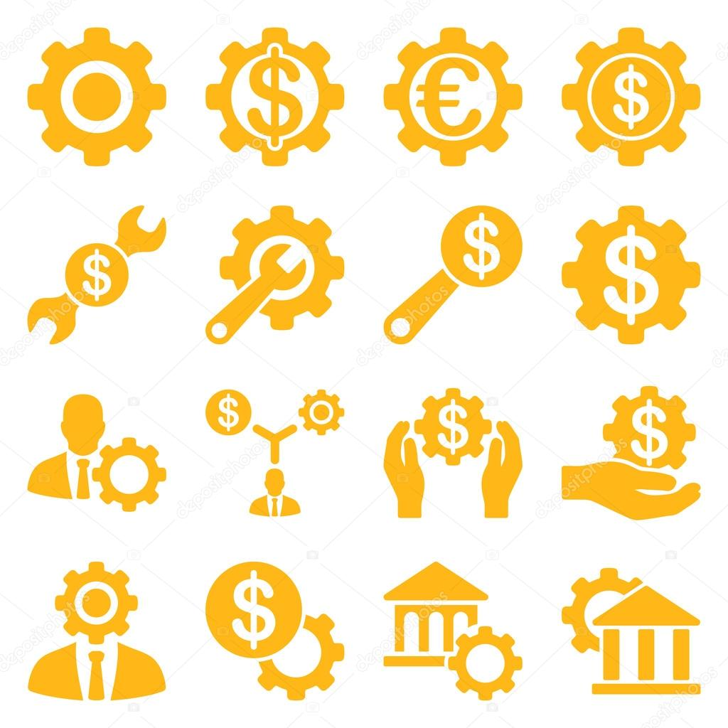 Financial tools and options icon set