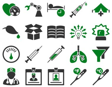 Medical icon set. Style is bicolor icons drawn with green and gray colors on a white background clip art vector