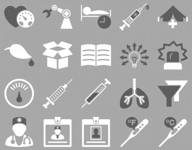 Medical icon set. Style is bicolor icons drawn with dark gray and white colors on a gray background clip art vector