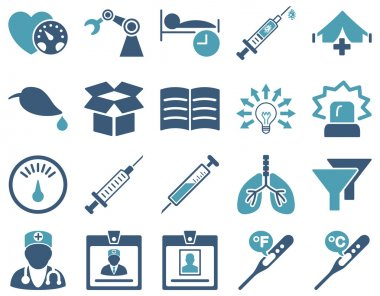 Medical icon set. Style is bicolor icons drawn with cyan and blue colors on a white background clip art vector
