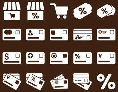Shopping and bank card icon set