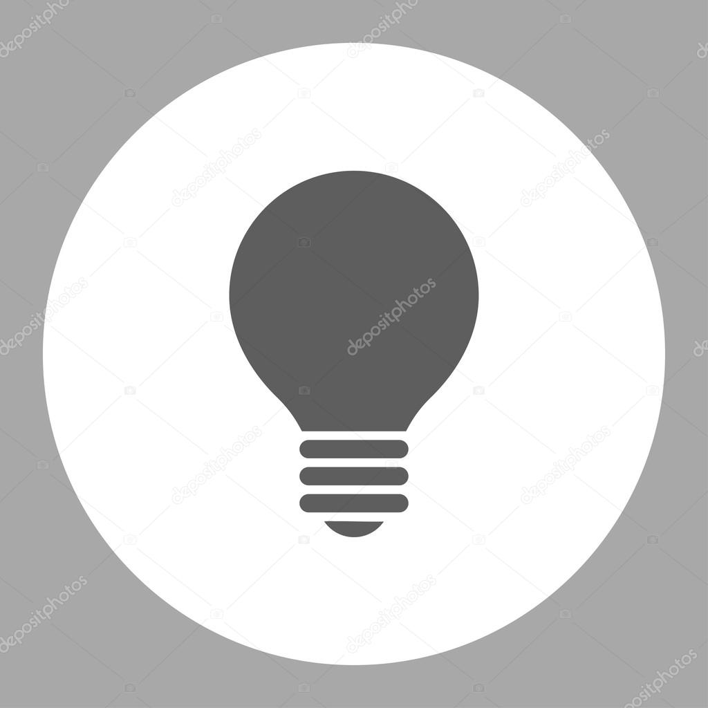 Electric Bulb flat dark gray and white colors round button — Stock ...